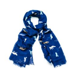 Blue Colourful Foxes Scarf