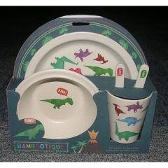 Bamboo Plate/Cutlery Set - Dinosaur