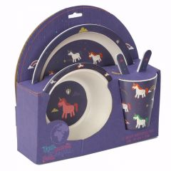 Bamboo Plate/Cutlery Set - Unicorn